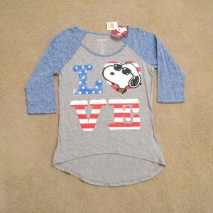 Womens Snoopy Baseball Tee Juniors NEW